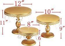 VILAVITA 3set Antique Cake Stand Round Cupcake Stands Metal Dessert Display Gold