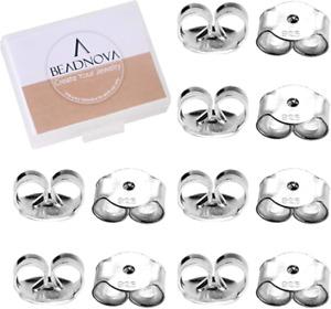 BEADNOVA 925 Sterling Silver Earring Backs s Earring Backings Pierced Earring Ba