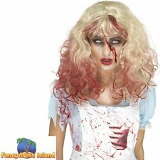 Zombie Bloody Alice Wig Halloween Blonde Adult Womens Fancy Dress Costume