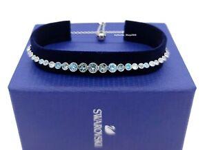 100% Auth SWAROVSKI Rhodium Sparkle Blue Crystal Emily Gradient Bracelet 5562130