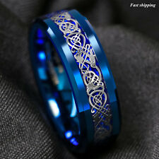 8Mm Blue Tungsten Carbide Ring Celtic Dragon Carbon Fibre Atop Men's Jewelry