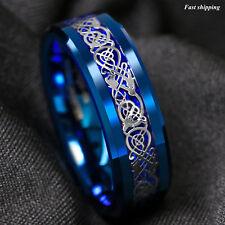8Mm Blue Tungsten Carbide Ring Celtic Dragon Carbon Fibre ATOP Men's Jewelry