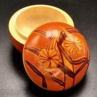 Painted Honeysuckle Wood Lacquer Trinket Box Floral Orange 3 inch Spherical