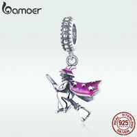 BAMOER Solid 925 sterling silver Dangle charm Magic Witch with CZ Fit bracelet