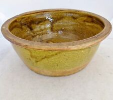 """MING Dynasty ? Antique Chinese Straw Yellow / Green Glazed Pottery Bowl  (11.4"""")"""
