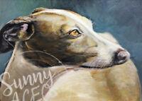ACEO Italian Greyhound dog puppy print my painting animal ATC pet portrait