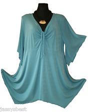 JB 60 / 62 MAGIC Slinky Zipfel Raff Luxus Tunika Shirt A Linie Türkis NEU