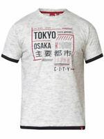 D555 DUKE BIG MENS TOKYO PRINT T-SHIRT GREY DOUBLE LAYER 2XL-6XL 7XL 8XL KS60172