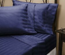 1500 Thread Count Egyptian Cotton Bed Sheet Set 1500 TC SPLIT KING Navy Stripe