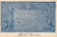 1906 VINTAGE NETHERLANDS 10 GULDEN BANKNOTE POSTCARD USED - to or from Zevenaar