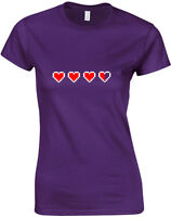 Health Hearts, Legend of Zelda inspired Ladies Printed T-Shirt Top Women T Shirt