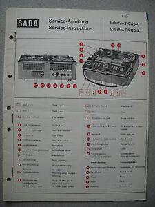 SABA TK125-4 TK125-S Tonbandgerät Service Manual