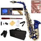 Mendini Blue Lacquered Eb Alto Saxophone Sax +Tuner+CareKit+Case+Book ~MAS-BL