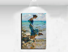 HD Canvas Print Art Home Decor Painting Wall Art Women on the beach 12x16
