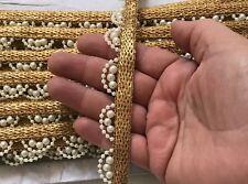 9 Yards Indian Latest Zari Pearl  work Kinari Border Ethenic Ribbon Trim Lace