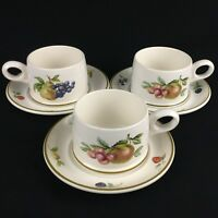Set of 3 Vintage Flat Cups and Saucers by Wedgwood Fruit Sprays Croft England