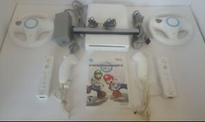 Nintendo Wii Mario Kart Console  2 controllers and wheels