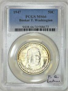 1947 Booker T. Washington Commemorative Half Dollar PCGS MS-66; P.Q. Lustrous