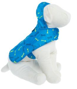 Blue Bone Dog Raincoat with Keychain Bag - XS or XL - Water Resistant - NWT