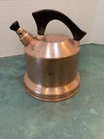 Vintage Solid Copper Whistling Teapot Marked WB Bell Shaped Wood Handle