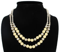 Vintage Cream Silver Tone Beaded Multistrand Necklace