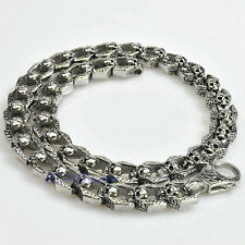 Men Punk Vintage Gothic Skull Chain Link Necklace 316L Stainless Steel Heavy 24""