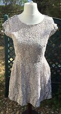 Lovely JOE BROWNS Sleeveless Cream And Beige Lace Skater Dress Size 12 Dress