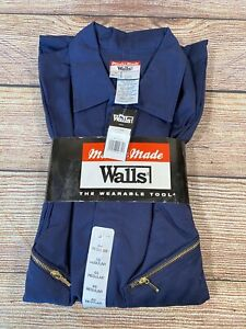 Walls Master Made Men's Coverall Jumpsuit Twill Navy Blue 48 Reg Long Sleeve New
