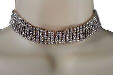 Women Wide Strand Gold Metal Choker Fashion Necklace Fancy Jewelry Silver Bling