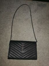 Ysl Black Envelope Bag With Silver Embossed Ysl. GENUINE