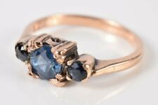 Vintage Fancy Old Sapphire Ring in Pure 14K Gold Size 6-1/4