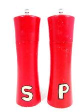 """Salt Shaker & Pepper Mill Handpainted Retro Red Wood 8"""" Set of 2"""
