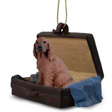 Irish Setter Traveling Companion Dog Figurine In Suit Case Ornament