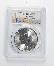 Special Space Needle Label! 2016 MS69 Canadian 1 Oz SIlver Maple Leaf PCGS *339