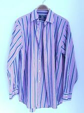 Charles Tyrwhitt Striped Cotton Men's Shirt Size L, Pink Grey, Woven in Italy
