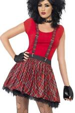 LADIES 80's TARTAN PUNK KIT ADULT WOMENS 1980s FANCY DRESS ACCESSORIES WITH TUTU