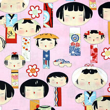 BY YARD-Yui Kokeshi Japanese Kawaii Japan Fabric Alexander Henry 6757A Pink