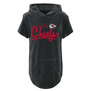 Outerstuff NFL Youth Girls Kansas City Chiefs Short Sleeve Velvet Hooded Top