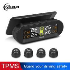 USB+Solar Wireless Car TPMS Tire Pressure Monitor System LCD Display 4 Sensors