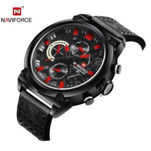 NAVIFORCE Sport Watches Men Analog Date WristWatch Leather Waterproof Relogio