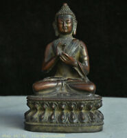 "8 ""lotus de bronze bouddhisme Tibet siège Shakyamuni Amitabha Statue"