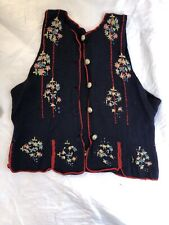 Handmade Vintage Knitted Waistcoat Embroidered c 1940s