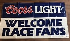 """Coors Light Welcomes Race Fans NASCAR Racing 1990 Beer Sign ULTRA RARE 59""""X33"""""""