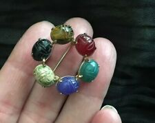 Vintage 12K Gold Filled Carved Scarab Pin Oval Circle Colored 6 Stones