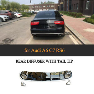 PP Rear Bumer Diffuser With  Muffler Exhaust Tailpipe For AUDI A6 C7 Sedan 12-16