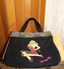 Betsey Johnson Betseyville Pin Up Girl Leopard Large Black Tote Bag