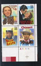 U.S.  #2448a 1990 25 Cent Classic Films  LR Plate Block MNH Superb SCV $5.50