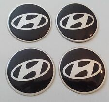 4 Hyundai Aufkleber 62mm Schwarz Embleme Logo  Nabendeckel 132-Hyu