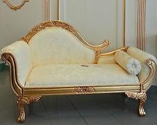 Dormeuse divano in foglia oro legno massello tessuto damascato st14658