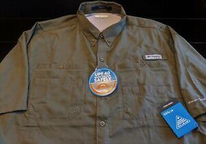 NEW COLUMBIA PFG Tamiami Men's XL Short Sleeve Fishing Shirt Olive Green NWT